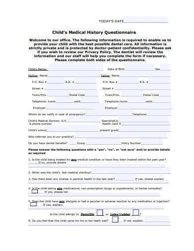 child's medical history questionnaire