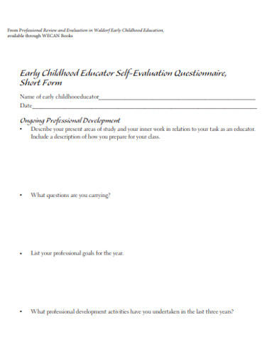 childhood educator self evaluation questionnaire