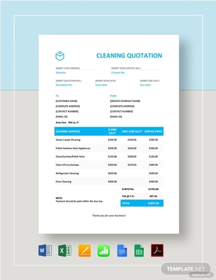 cleaning quotation template
