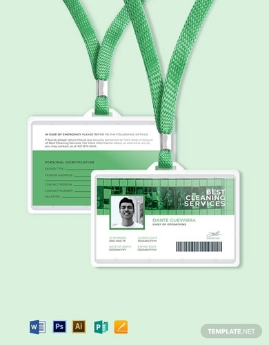cleaning service id card template