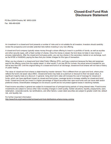 closed end fund risk disclosure statement