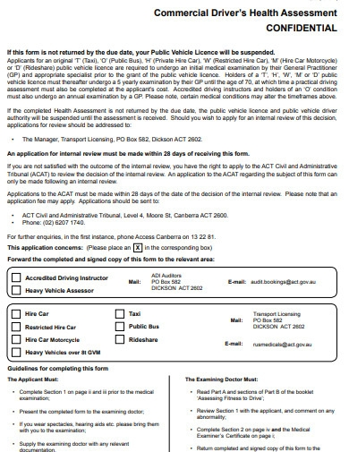 commercial drivers health assessment questionnaire
