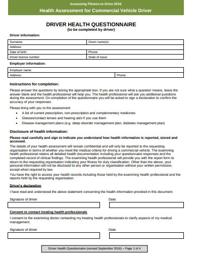 commercial vehicle driver health questionnaire