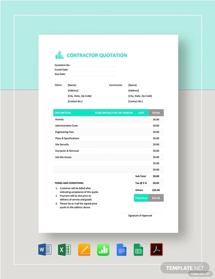 contractor quotation template