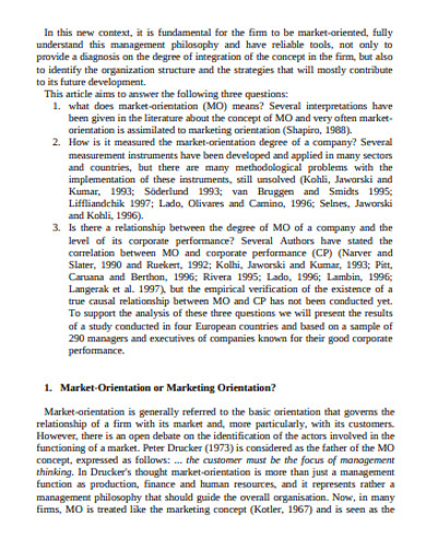 corporate market orientation example