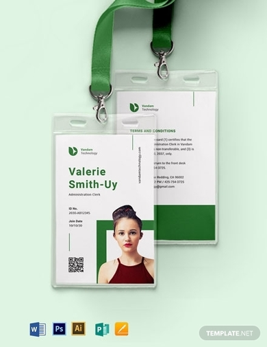 corporate portrait horizontal id card template