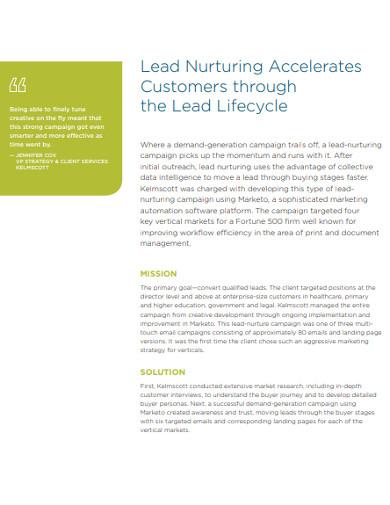 customer lead nurturing example