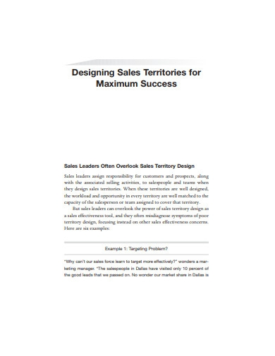 designing sales territories example