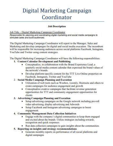 digital marketing campaign coordinator