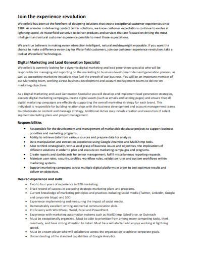 digital marketing and lead generation specialist