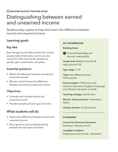 distinguishing between earned and unearned income guide