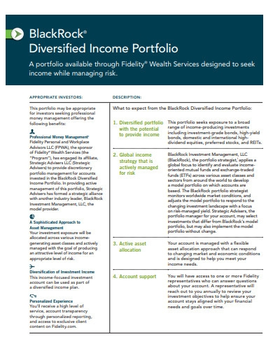 diversified income portfolio example
