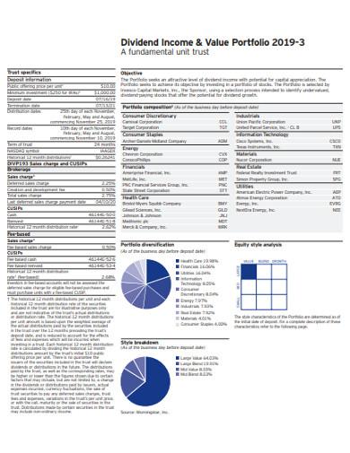 dividend income and value portfolio example