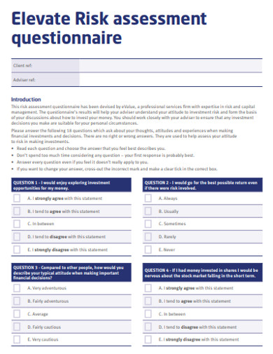 elevate risk evaluation questionnaire example