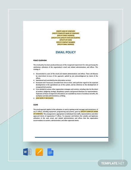 email policy template