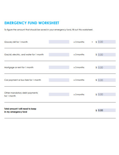 emergency fund worksheet example