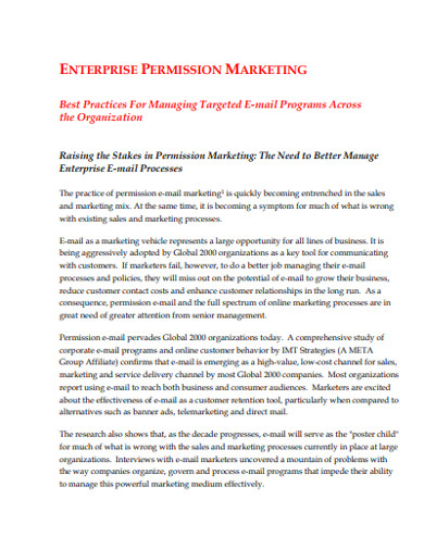 enterprice permission marketing example