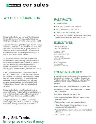 enterprise car sales fact sheet