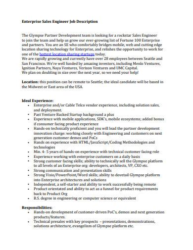 enterprise sales engineer job description
