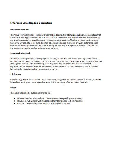 enterprise sales job description