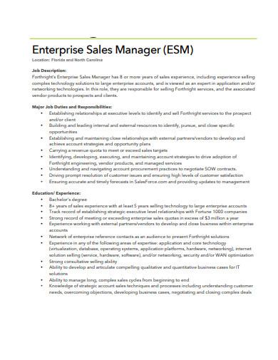 enterprise sales manager job description