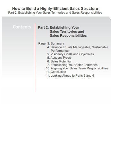 establishing sales territories and sales responsibilities