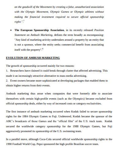 evaluation of ambush marketing example
