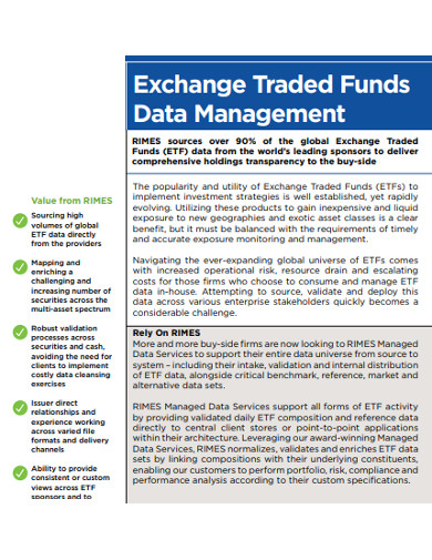exchange traded funds for data management