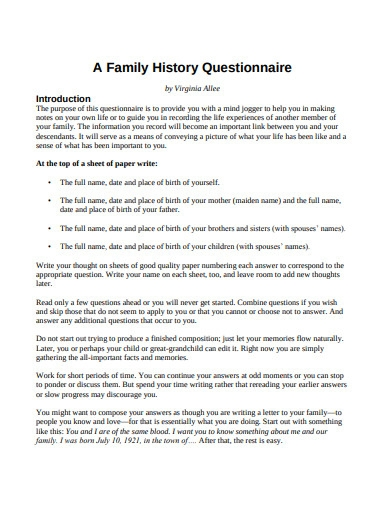 family history questionnaire for student