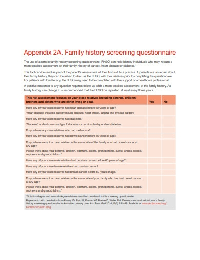 family history screening questionnaire checklist