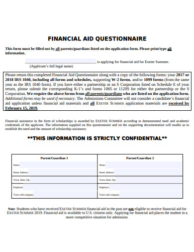 financial aid questionnaire example