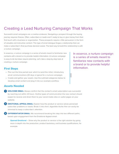 formal lead nurturing example