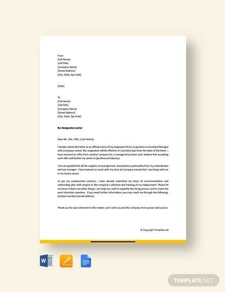 free assistant manager resignation letter