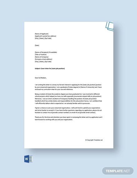 free cover letter for job application for freshers