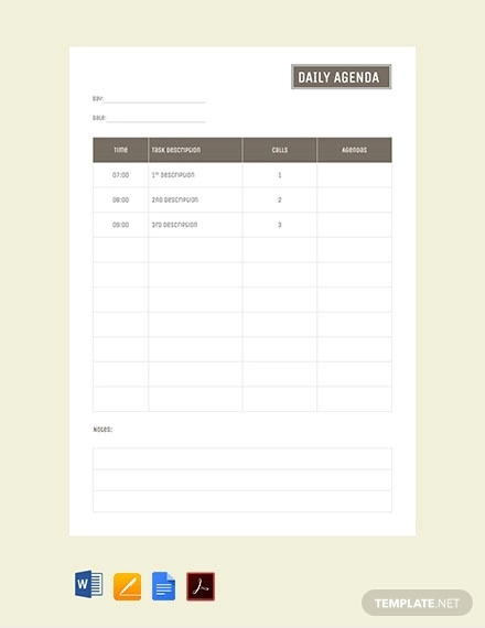 free daily agenda template