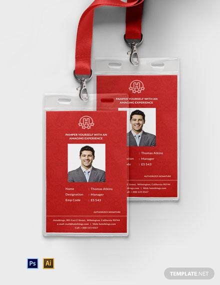 free editable hotel identity card template