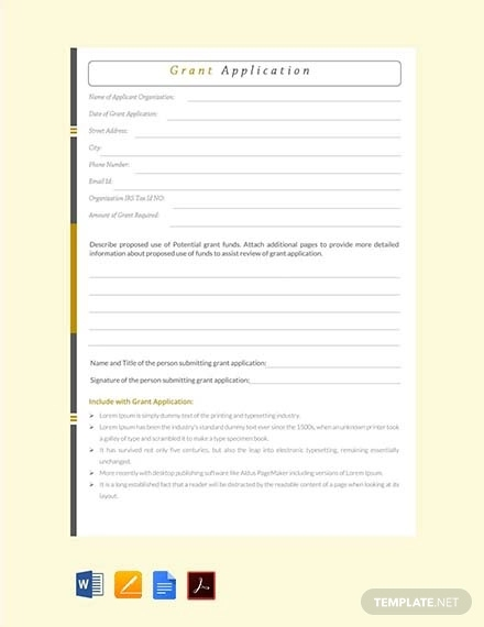 free grant application template