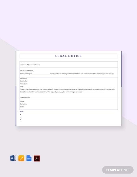 free legal notice template