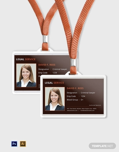 free legal services id card template