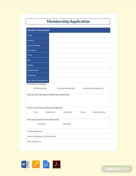 free membership application template