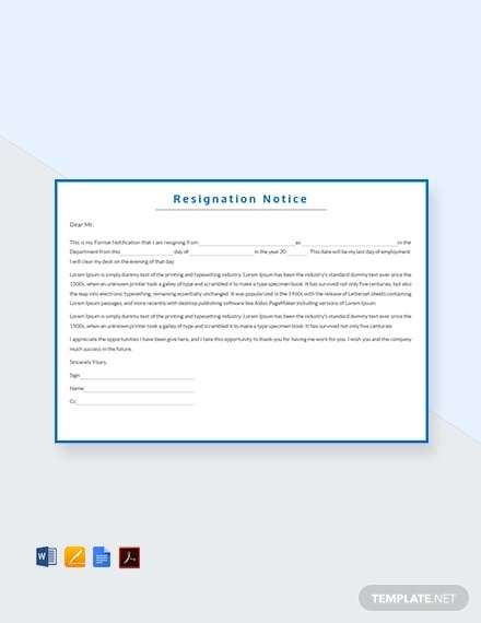free resignation notice template