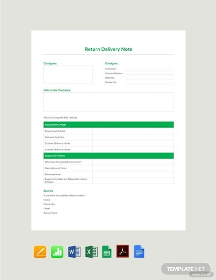 free return delivery note template