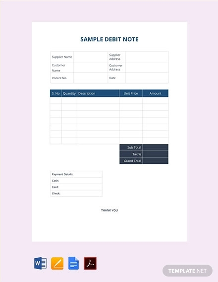free sample debit note template