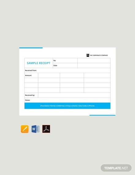 free sample receipt template