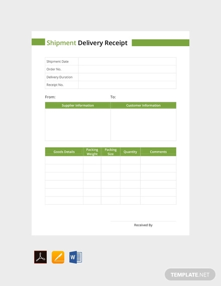 free shipment delivery receipt template