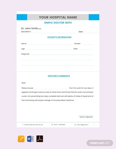 free simple doctor note template