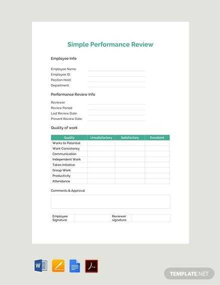 free simple performance review template