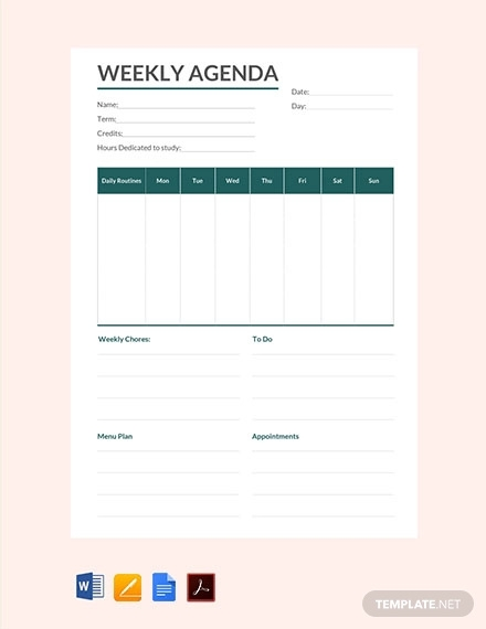 free weekly agenda template