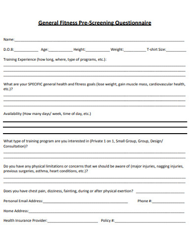 general fitness pre screening questionnaire