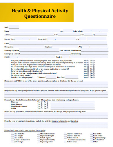 health and physical activity questionnaire